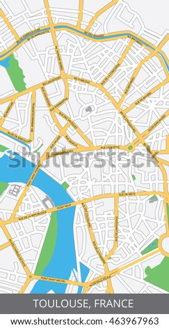 Vector Color Map Toulouse France All Stock Vector 2018 463967963