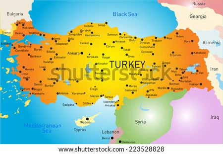 Vector color map of Turkey  - stock vector