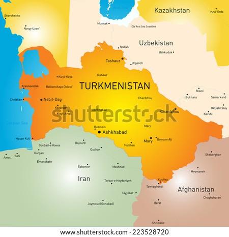 Vector color map of Turkmenistan  - stock vector