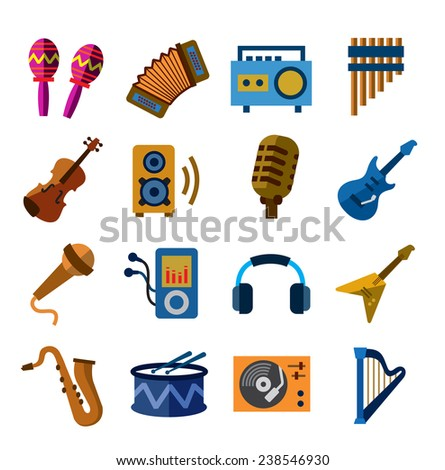 vector color musical instruments icons on white background - stock vector