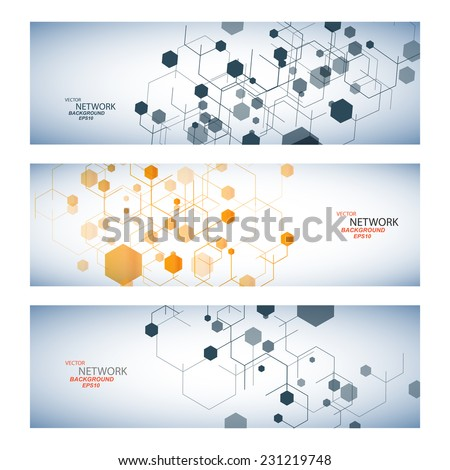 Vector color network connection and DNA atom. - stock vector
