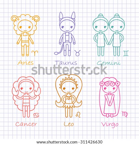 vector color outline hand drawing zodiac signs Aries, Taurus, Gemini, Cancer, Leo, Virgo - stock vector