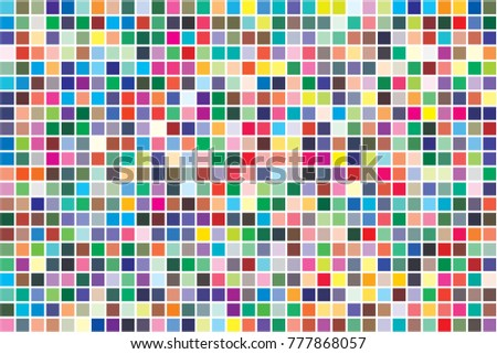 Vector color palette. 726 different colors chaotically scattered. Pattern size 231 x 154 mm.