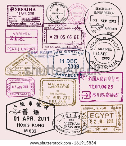 vector color passport stamps - travel theme background - stock vector