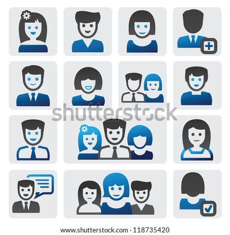 vector color people icons set on gray - stock vector