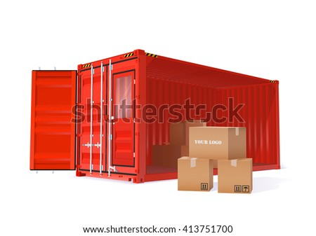 Vector Color Realistic Cargo Container With Cardboard Boxes Illustration