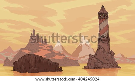 Vector color sea landscape. Great lighthouse and an impregnable fortress, coastline. In the background the mountains . Background for comics and videos, storyboards - stock vector