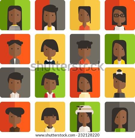 Vector color set avatar african or arabic girl - stock vector