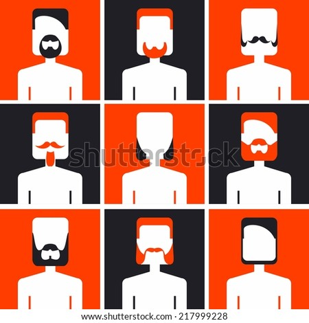 vector color set avatar beard mans - stock vector