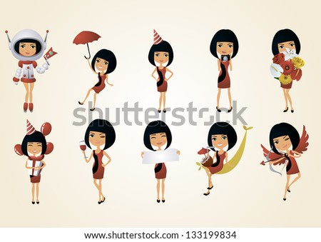 vector color set of brunette girl in various poses - stock vector