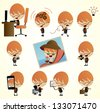 vector color set of cartoon office worker in various poses - stock photo
