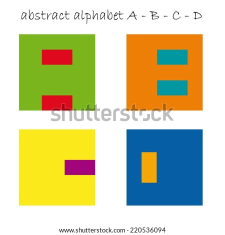 Vector color signs initial letter A, B, C, D - stock vector