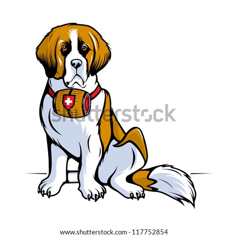 Vector color sketch of a seated St. Bernard dog. Fully Editable Vector Illustration. - stock vector