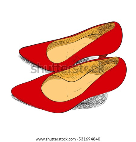 Vector color sketch of female shoes. Hand draw illustration.