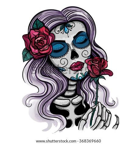 vector color skull woman illustration