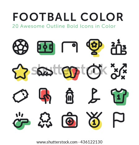 Vector Color Soccer Football Outline Bold Icons Set