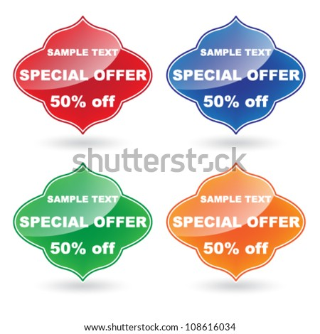 Vector color Special Offer label set - stock vector