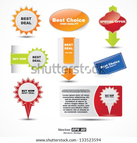 Vector color special offer label / sticker set - stock vector