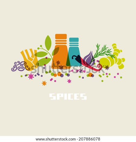 Vector color spices and herbs icon. Food sign. Healthy lifestyle illustration for print, web - stock vector