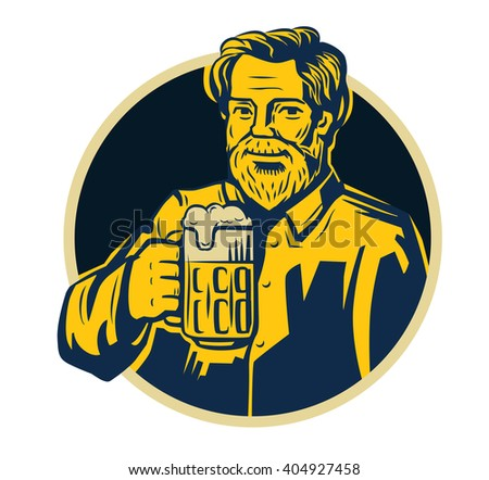 vector color symbol of man with beer - stock vector