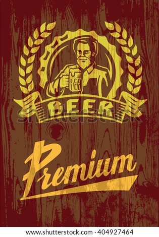 vector color symbol of man with beer on wood - stock vector