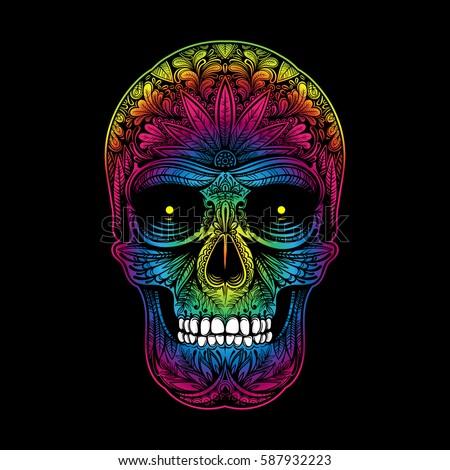 vector color tattoo skull illustration on black background