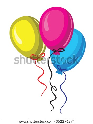 vector color three baloon on white background