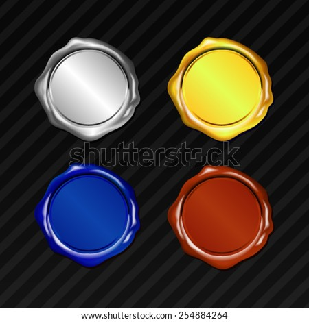 Vector 4 Color Tone Wax Seal - stock vector