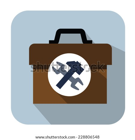 vector color toolbox icon set on white - stock vector