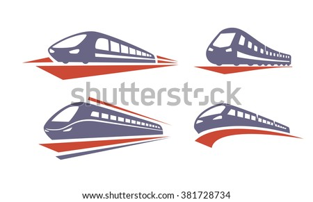 vector color Train icons on white background