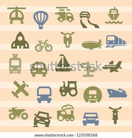 vector color transportation icon set on beige - stock vector