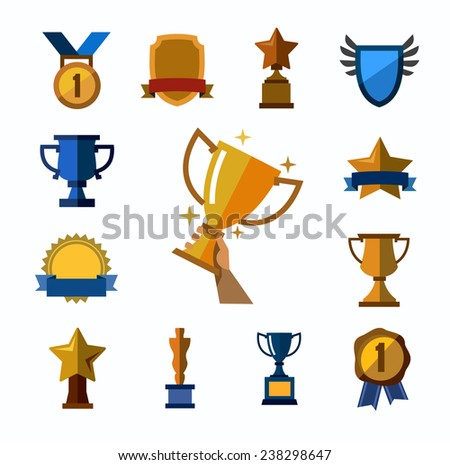 vector color trophy and awards icons set on white