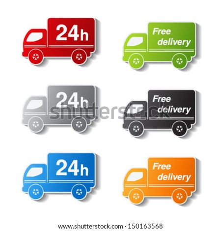 Vector color truck symbols - delivery within 24 hours and free delivery - stock vector