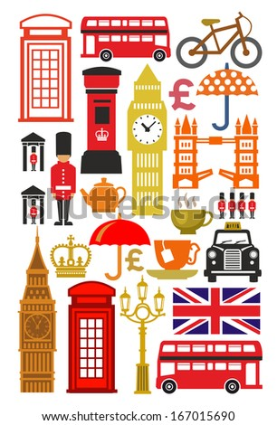 vector color uk icon set on white - stock vector