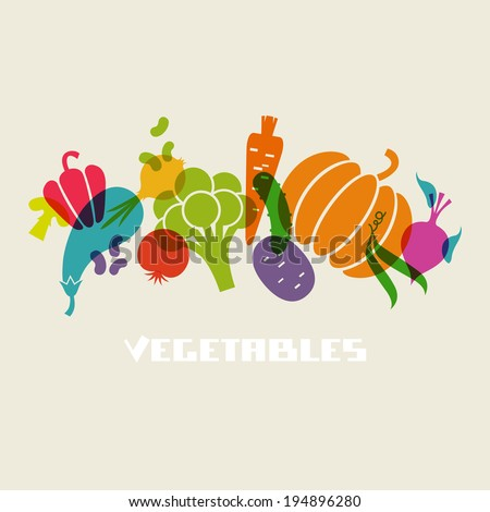 Vector color vegetables icon. Food sign. Healthy lifestyle illustration for print, web - stock vector