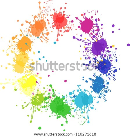 vector color wheel with flat colors without transparency - stock vector