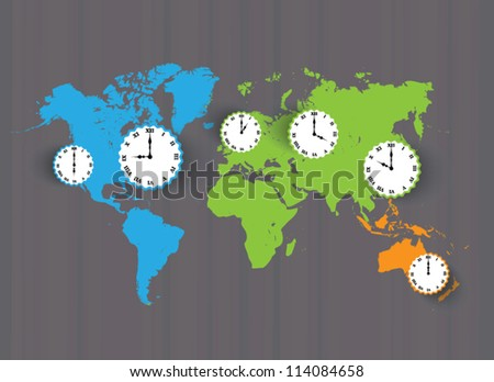 Vector color world Map with time zones - stock vector