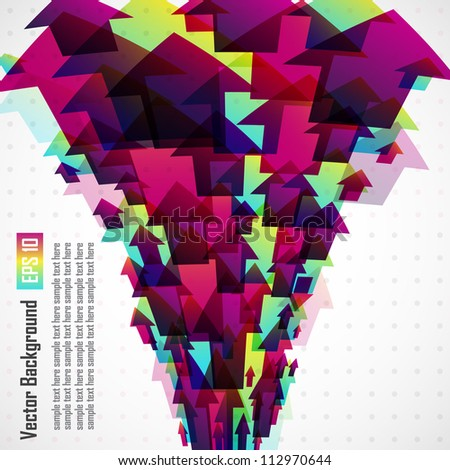 Vector colored background with 3d arrows - stock vector