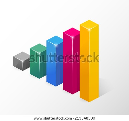 Vector Colored Bar Chart  Emphasizing Growth  Isolated on White Background