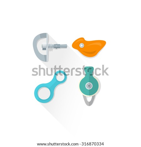 vector colored climbing bolt hanger hold eight figure belay descender pulley colored isolated illustration on white background with shadow - stock vector