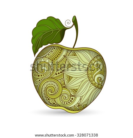 Vector Colored Contour Apple. Hand Drawn Decorative Fruit