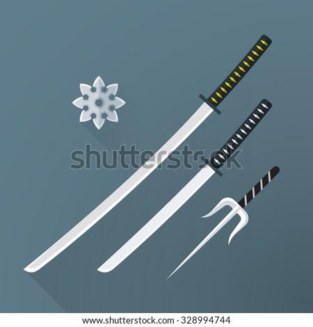 vector colored flat design japan cold steel arms katana sword wakizashi shuriken sai isolated illustration gray background long shadows - stock vector