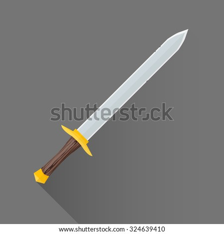 vector colored flat design metal sharp blade battle sword wood handle isolated illustration gray background long shadow - stock vector