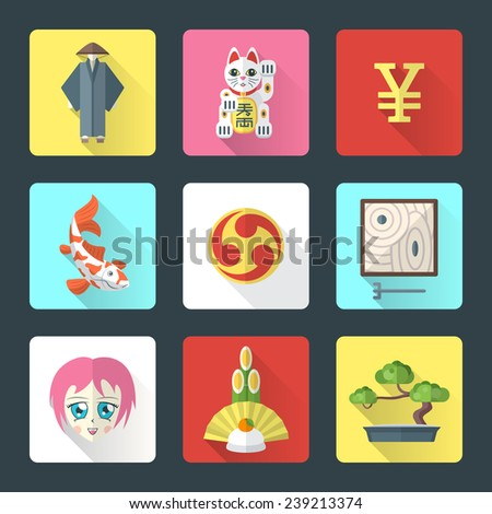 vector colored flat style japanese national theme icons with shadow set - stock vector