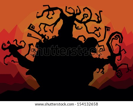 vector colored halloween landscape illustration