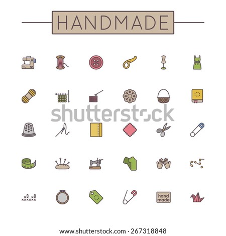 Vector Colored Handmade Line Icons - stock vector