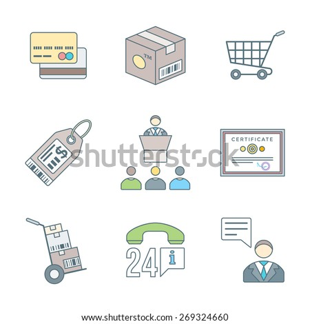 vector colored outline design business distribution marketing process illustration icons set white background  - stock vector