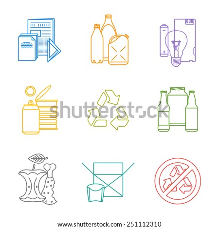 vector colored outline recycle groups various waste icons set paper plastic battery metal glass organic paper hazardous separate collection and segregation garbage - stock vector