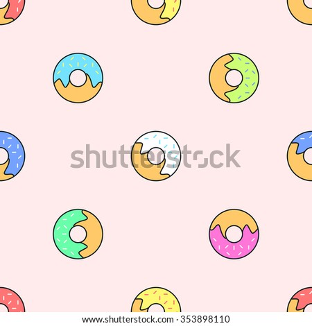 vector colored outline various red yellow green pink white blue donuts seamless pattern on light orange background  - stock vector