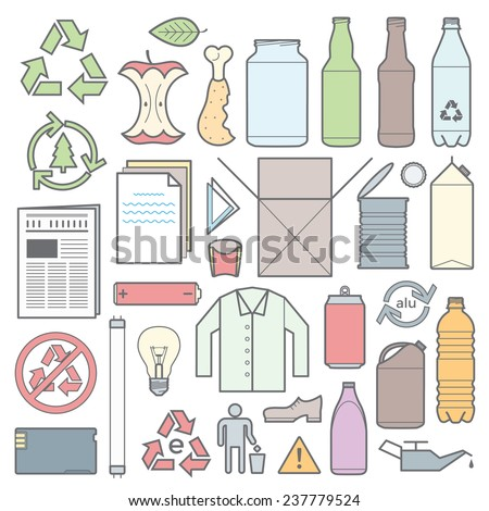 vector colored outlines icons and signs for separate collection of waste - stock vector
